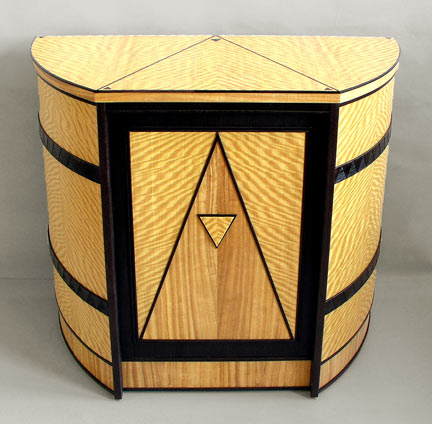 art deco curved cabinet