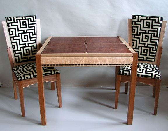 art deco game table with chairs