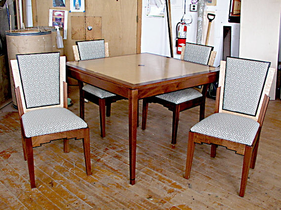 Art Deco game table and chairs
