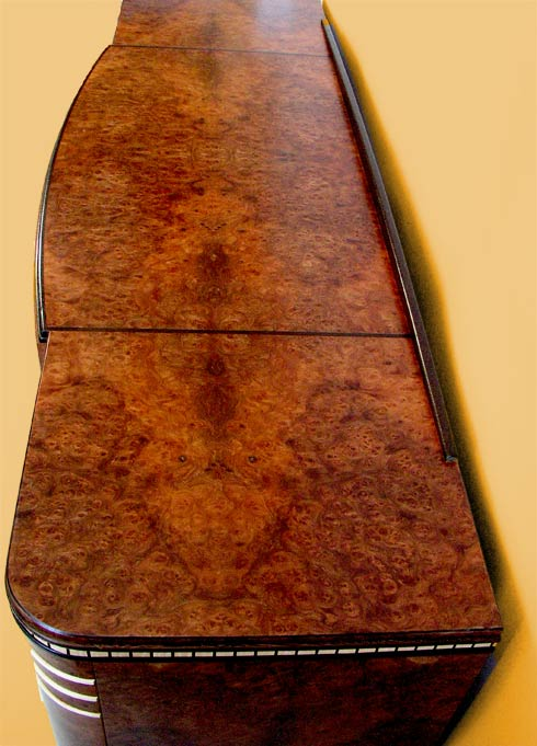 bookmatched art deco burl