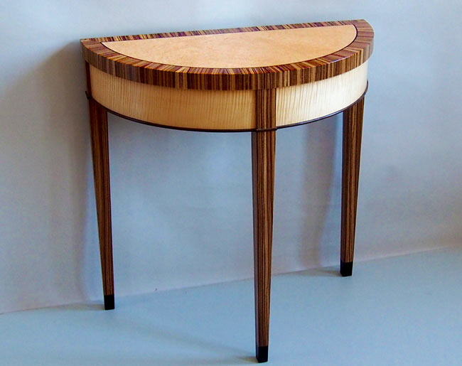 zebrawood demilune table