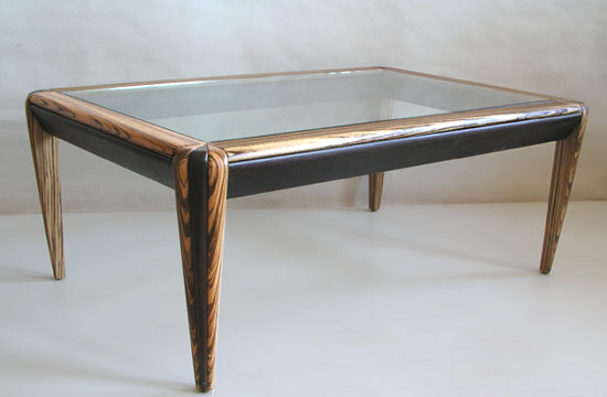 exotic wood glass table