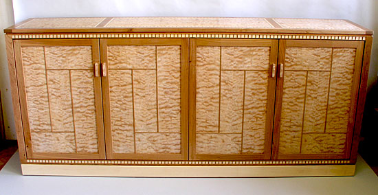 Quilted Maple Credenza entertainment center