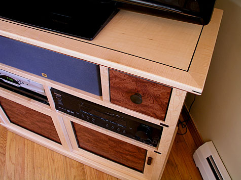 curly maple entertainment center