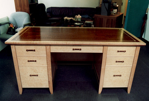 birdseye maple mahogany executive desk