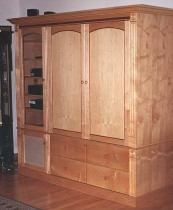 entertainment center pocket doors