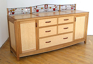 Large dresser with stained glass