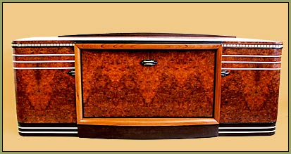 Carpathian Elm Burl Art Deco Audio cabinet