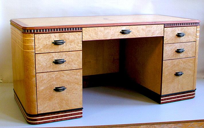 Birdseye Maple Executive Deco Desk