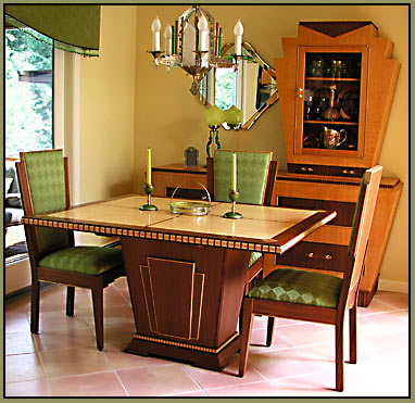 Zebrawood Demilune Hall Table Art Deco Dining Set